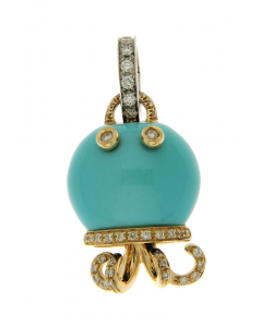 """""""Marinelle"""" Charm in 18kt Yellow Gold, Turquoise and Diamonds"""