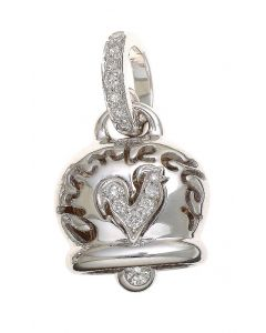 """""""Campanelle"""" Medium Rooster Charm in 18kt White Gold and Diamonds"""