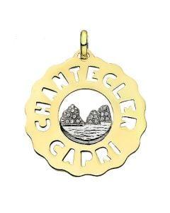"""Logo"" Small Faraglioni Charm in 18kt Yellow Gold and Diamonds"