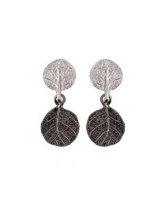 "Michael Aram ""Botanical Leaf"" Pave Black Diamond Double Drop Earrings"