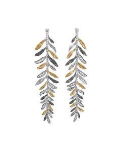 """Aram Jewelry """"Laurel"""" Leaf Drop Diamond Earrings"""