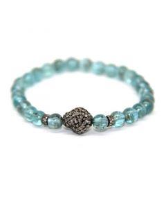 Amalia Jewel Apatite and Pave Diamond Stretch Bracelet