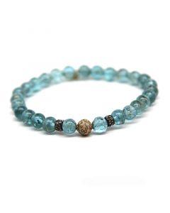 Amalia Jewel  Apatite, Pave Diamond, and 18K Rose Gold Stretch Bracelet