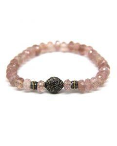 Amalia Jewel Strawberry Quartz and Pave Diamond Stretch Bracelet