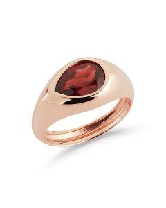 Barbela Design Estelle Garnet Signet Pinky Ring 14kt Yellow Gold