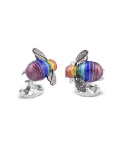 Deakin & Francis Limited Edition Sterling Silver Rainbow Bumble Bee Cufflinks