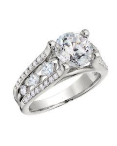 "Peter Storm ""Naked Diamonds"" 6 Princess Cut Solitaire Diamond Engagement Ring Setting"