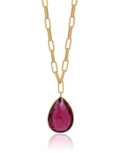 """Goshwara Rubelite briolite large textured flat chain necklace in 18k yellow gold, from the Goshwara """"G-One"""" collection - close view"""