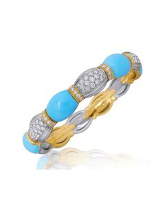Picchiotti Xpandable™ Turquoise and Diamond 18kt White and Yellow Gold Bracelet