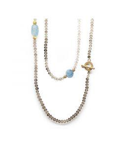 "Amalia Jewel Aquamarine, Smokey Quartz, Pave Diamond, and 18K Yellow Gold 36"" Necklace"