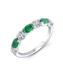 "Uneek Jewelry ""Precious"" Emerald and Diamond Wedding Band in 14K White Gold"
