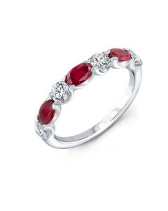 """Uneek Jewelry """"Classic"""" Ruby and Diamond Wedding Band in 14K White Gold"""