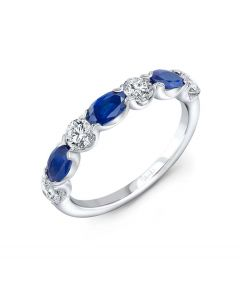 """Uneek Jewelry """"Classic"""" Blue Sapphires and Diamond Wedding Band in 14K White Gold"""