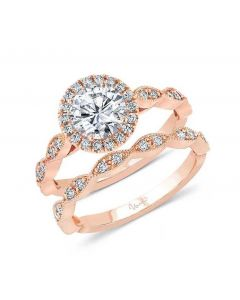 """Uneek Jewelry """"Us"""" Round Diamond Halo Engagement Ring and Matching Wedding Band in 14kt Rose Gold"""