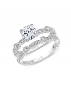 """Uneek """"Us"""" Round Diamond Bridal Set with Milgrain-Trimmed Pave Bars and Bezel Station Accents in 14kt White Gold"""