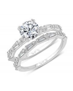 """Uneek """"Us"""" Bridal Set with Tapered Baguette Diamond Accents In 14kt White Gold"""