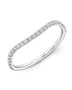 Uneek Contoured Pave Diamond Wedding Band in 14kt White Gold