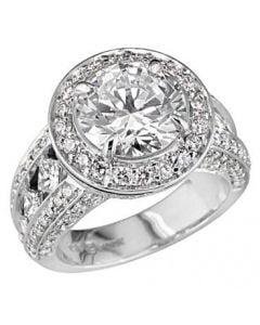 "Peter Storm ""Naked Diamond"" 8 Princess Cut Halo Engagement Ring Setting"