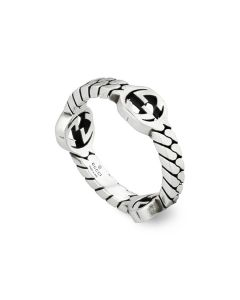 "Gucci ""Interlocking G"" Sterling Silver Gourmette Ring"
